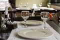 Table arrangement in fancy restaurant Stock Photo