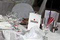 Table arrangement a in a restaurant ready for wedding Stock Photos