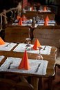 Table arrangement a in a rustic hotel Stock Photos