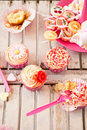 Table with birthday treats Royalty Free Stock Photos