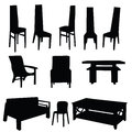 Table and chair vector black illustration on white background Stock Photo