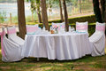 Table, chairs and decorations at a wedding Royalty Free Stock Photo
