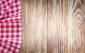 Table cloth on wooden background.Fastfood concept. Royalty Free Stock Photo