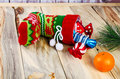 On the table is a colorful Christmas sock. Royalty Free Stock Photo