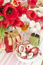 Table decoration with easter eggs Royalty Free Stock Images