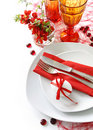 Table decoration in red Royalty Free Stock Photography