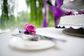 Table flowers wedding and set Royalty Free Stock Image