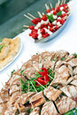 Table with food full of mediterranean appetizers Stock Images