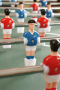 Table football players selective focus on blue player Stock Image