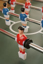 Table football players selective focus on red player Stock Photo