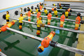Table football to relax foosball game room in multiplayer entertaining Royalty Free Stock Photo