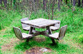 Table in forest at rest area wooden Stock Photos