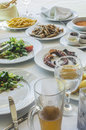 Table in greek restaurant Royalty Free Stock Photo