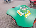 Table in a kindergarten classroom Royalty Free Stock Photo