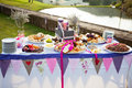 Table laid with fresh bread and condiments at wedding outdoor reception Stock Images