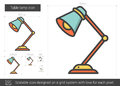 Table lamp line icon.