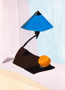 Table lamp and orange still life with blue fruit Stock Images