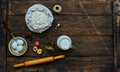 On the table lay a brown ingredients for cooking dough Royalty Free Stock Photo