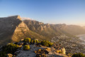 Table Mountain in the evening sun - Cape Town, South Africa Royalty Free Stock Photo