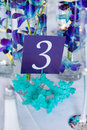 Table number and centerpiece details of a banquet decorative Royalty Free Stock Photos