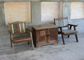 Table and old style chairs set Royalty Free Stock Photography