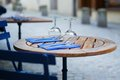 Table of an outdoor cafe french Royalty Free Stock Photo