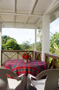 Table patio guest house bequia Royalty Free Stock Photos