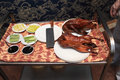Table with peking duck in a chinese restaurant Royalty Free Stock Photos