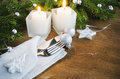 Table Place Setting for Christmas Eve. Winter Holidays. Christmas background. Royalty Free Stock Photo
