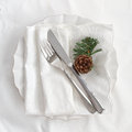 Table place setting for christmas with pine cone Stock Photo