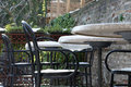 Table reasturant restaurant during strong winter with snow Stock Photography