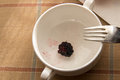 Table remnants after a consumed healthy breakfast empty bowl and leftover blueberry Stock Photography