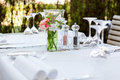 Table in restaurant tableware glass banquet summer napkin silver white Royalty Free Stock Image