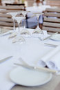 Table in restaurant tableware glass banquet summer napkin silver white Stock Images