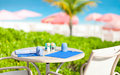 Table at seaside restaurant Royalty Free Stock Photography