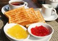 Table served for breakfast Royalty Free Stock Photo