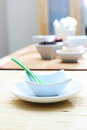 Table set breakfast bowl spoon Stock Photo