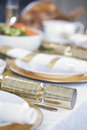 A table set for Christmas dinner Royalty Free Stock Photo