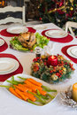 Table set for christmas dinner Royalty Free Stock Photo