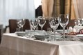 Table set for event party or wedding reception elaborate setting at a Royalty Free Stock Images