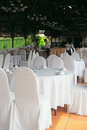 Table set event party wedding reception outdoors Stock Image
