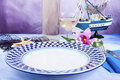 Table set with plate decorated Royalty Free Stock Image