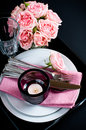 Table setting on black background Royalty Free Stock Photo