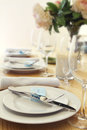 Table setting with blurred background for text Royalty Free Stock Photo