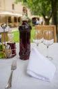 Table setting bottle wine restaurant Stock Images