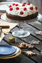 Table setting with chocolate cake Royalty Free Stock Photo