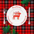 Table setting for christmas dinner vector eps illstration Royalty Free Stock Image