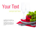 Table setting with chrysanthemums, ready template Stock Image
