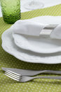 Table setting elegant in green Royalty Free Stock Photo