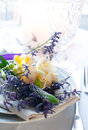 Table setting with freesias Royalty Free Stock Photos